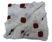 Red Rose Crochet Blanket - Red and White Bed Coverlet