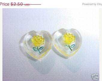 Sunny Yellow Floral Heart Charms Vintage Lucite Beads