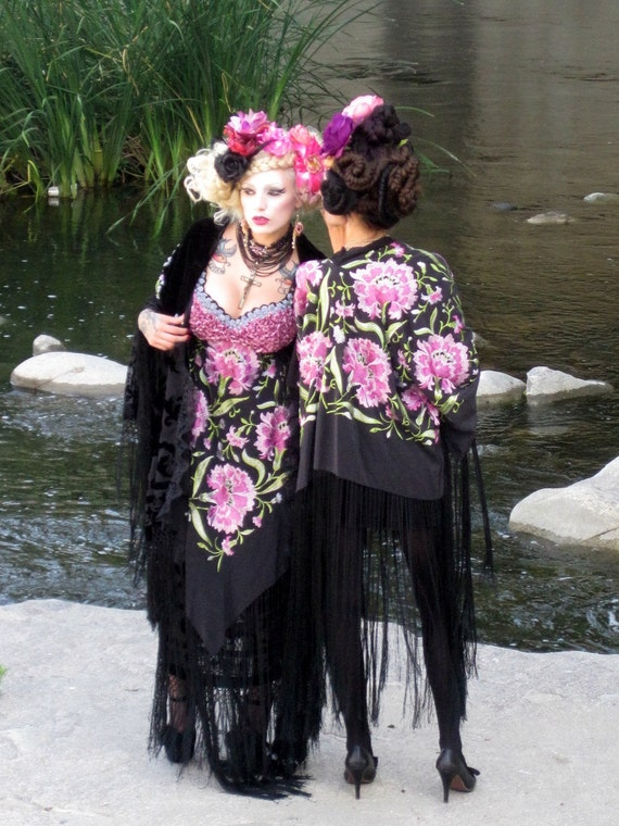 Romantic STEVIE NICKS Midnight Black FLORAL Gypsy shawl jacket Ooak