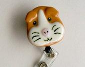 Retractable Badge Holder Fused Glass Guinea Pig
