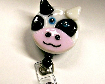 Retractable Badge Holder Fused Glass Cow