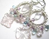 Pink Hibiscus Earrings - Rose Quartz, Aquamarine and Amethyst on Sterling Earrings
