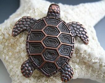 Greek Large Sea Turtle Bronze Pendant Mykonos 43mm Naos