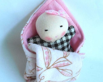 bald baby, small doll blanket, Waldorf dolls, natural toys