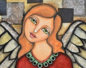 Original Angel Painting on Canvas Mixed Media Collage FAAP