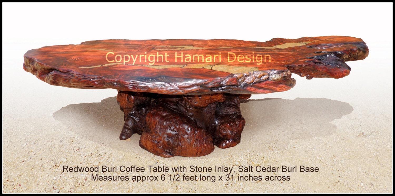 redwood burl slab coffee table stone inlay exotic wood live. Black Bedroom Furniture Sets. Home Design Ideas