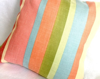 Gorgeous Bright Fun Stripe PIllow Sham in Lime Salmon and Robin's Egg Blue