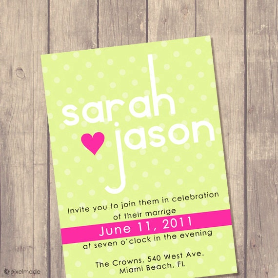 Wedding Invitation Suite - Custom Invite - Budget Bride - Printed Wedding Invitation - RSVP - Set - Modern Green & Pink Dots / No 32