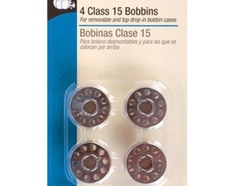 SEWING MACHINE BOBBINS  Dritz Metal Class 15 package of 4 New Bobbins