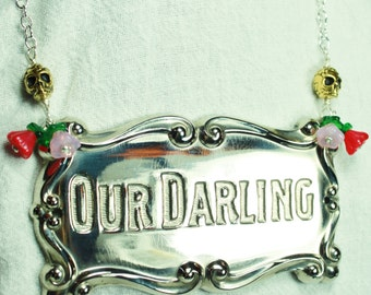 Our Darling Antique Coffin Plaque Necklace - New Old Stock