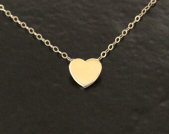 Small Heart Necklace - Tiny 14k Gold Heart Necklace