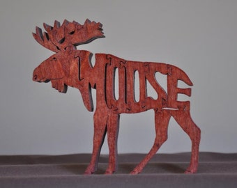 Moose Animal Puzzle Wooden Toy Hand  Cut with Scroll Saw Figurine Cabin Decor