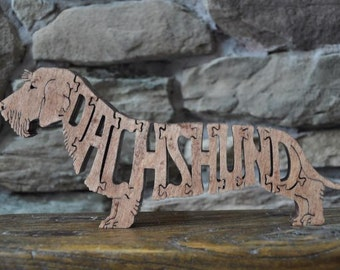 Wire Haired Dachshund  Dog Puzzle Wooden Toy Hand Cut with Scroll Saw