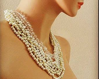Pearl and Crystal Necklace Bridal Statement Necklace Wedding Jewelry for Brides Pearl and Rhinestone Necklace Chunky Swarovski Pearl DOREN
