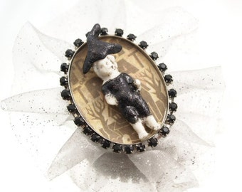 Trick or Treat Frozen Charlotte Doll Brooch Witch Halloween Pin Mixed Media Holiday Broach