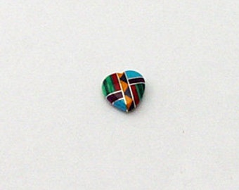12mm Small Inlay Gemstone Heart Bead Native American Inlaid Stones Turquoise Zuni Style Coral Sugilite Malachite Spiny Oyster Southwestern