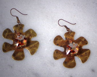 Swarovski cosmic stone flower casting antique brass earrings