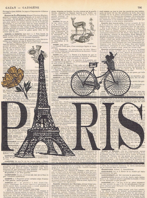 Parisbicycle Eiffel Tower Antique French Book Page Print