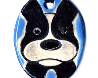 Boston Terrier Ceramic Necklace In Blue