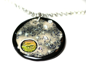 Jupiter and Four Moons Sparkle Surly Necklace with Swarovski Crystals