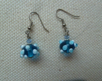 Fun and Funky Blue Bumpy Bead Earrings