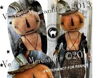 INSTANT Digital Download Primitive Pumpkin Doll Pattern JOL Halloween Patterns Cloth Fabric Spooky Kim Kohler Veenas Mercantile