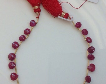 Ruby Heart Shape Drop Faceted Briolettes AAA quality