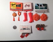 5 Orange and Red Earrings Post and Dangle VINTAGE charms and VINTAGE matchbooks