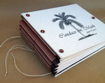 Nautical Wedding Guest Book or Photo Album with Palm Tree Seashell Knot or Starfish - Personalized - Custom Made for You