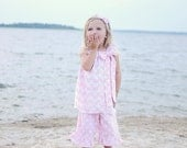 Baby Pink Chevron Dress with Bow dress, chevron, pink, bow, summer, spring, bow, dots, birthday, girl, toddler, dress up, beach