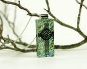 Celtic Cross Pendant - Dichroic Cross Necklace - Dichroic Jewelry - Fused Glass Christian Pendant
