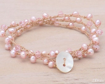 Baby Pink Pearl and Crystal Crocheted Bracelet Wrap - anklet or necklace too