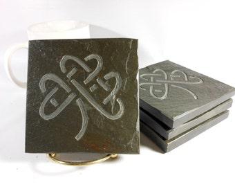 Celtic Knot Coasters -Shamrock Coasters - Multicolor Slate Coasters, Set of 4 - Natural Drink Coasters, Celtic Knot Irish Carving Decor