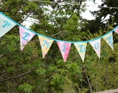Custom Flag Banner, Personalized Bunting Flag Decoration. 7 Flags, 7 Foot Long Garland.  Up to 7 letters, with an option for more.