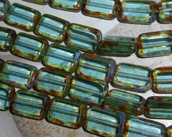 Aquamarine Picasso Czech 12/8mm Rectangle Table Cut Window Beads-WHOLESALE