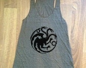 Game of Thrones inspired - Targaryen Dragon Sigil - racerback tank tee american apparel choose size and color