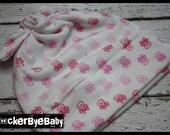 RockerByeBeanies Newborn Baby knit skull cap hat beanie white and shades of pink skulls and crossbones waffle