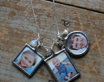 Triple Soldered Glass Photo Charm Necklace, Mommy Necklace, Custom personalized Photo Necklace, Custom Picture Necklace