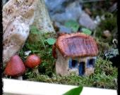 Miniature Ceramic Faery Cottage and Mushrooms Terrarium Faery Garden