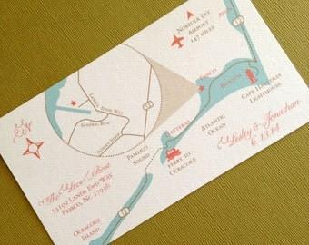 Frisco North Carolina custom wedding map, digital file