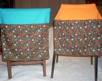 24  multi color circle print  with aqua, orange, lime green and red  backers  CHAIR POCKETS    Sturdy Durable Cotton Twill