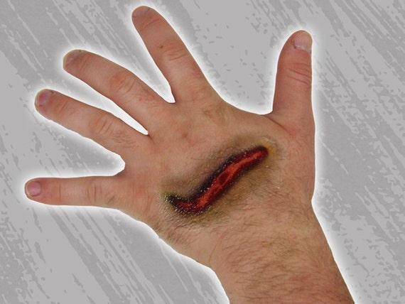 Halloween makeup alternative gash cut slash fake by buttonhead for Fake wound tattoos