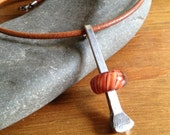 Large Draft Horse Shoe Nail Necklace with Lampwork Glass Bead and 18' Leather Cord