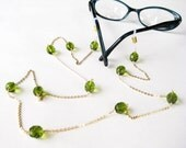 Olive Green Eyeglass Chain, Gold Chain Reading Glasses Lanyard, Avocado Green Glasses Holder, Handmade, Olivia