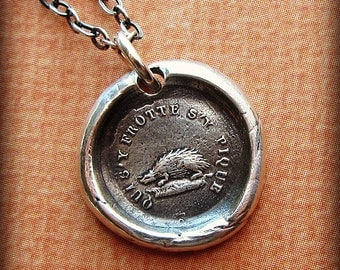 Don't Rub Me The Wrong Way - Hedgehog French Wax Seal Necklace French motto wax seal jewelry - FP380