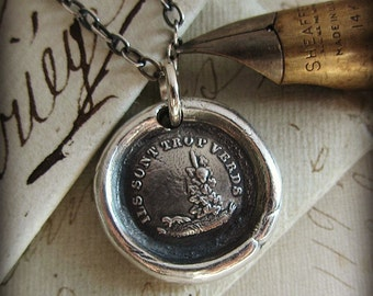 Wax Seal Necklace Fox and the Grapes - Aesop Fable Charm - Do not Despise What You Cannot Have - French Wax Seal Jewelry FP355