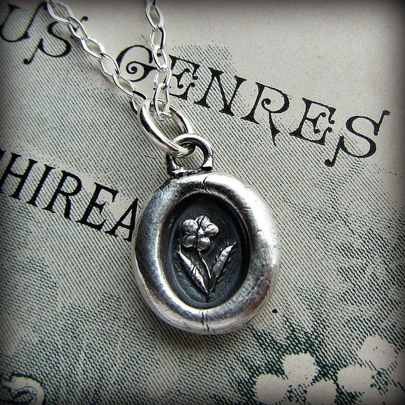 Tiny Flower Wax Seal Necklace - Flower Necklace in Sterling Silver - V1235