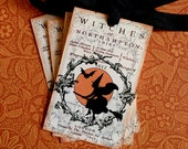 Vintage Witch Tags - Vintage Halloween Witch Tags  - Orange Witch Silhouette Tags - Set of 4