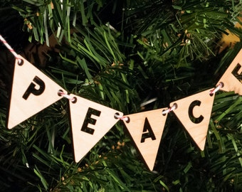 Ornament -- Lasercut Peace Bunting
