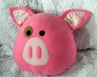 Pigling Pig Decorative Pillow, Light Pink Pig Pillow, Hot Pink Pig Pillow, Children throw pillow, Farm Animal Pillow, Cute Kids Pillow